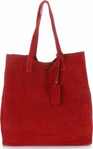 Pojemnie torebki skórzanej z wysokiej jakości zamszu naturalnego vittoria gotti czerwone