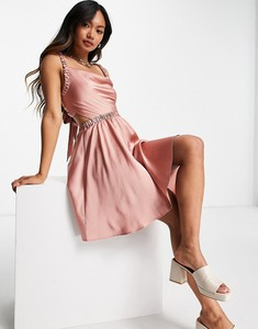 Różowa sukienka Asos z dekoltem w kształcie litery v