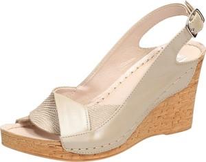 Złote sandały Suzana ze skóry