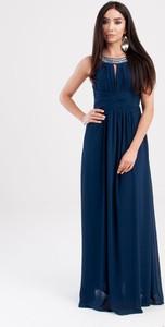 Niebieska sukienka Butik Ecru z tiulu bez rękawów maxi