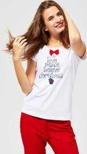 Bluzka Moodo z krótkim rękawem w bożonarodzeniowy wzór