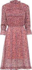 Różowa sukienka bonprix z szyfonu midi z długim rękawem