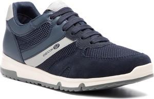 Niebieskie buty sportowe Geox sznurowane w sportowym stylu