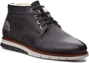 Czarne buty zimowe Salamander ze skóry w stylu casual sznurowane
