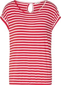 Czerwona bluzka Tom Tailor z dżerseju w stylu casual