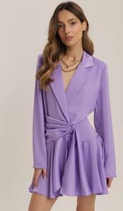Fioletowa sukienka Renee z dekoltem w kształcie litery v mini z długim rękawem