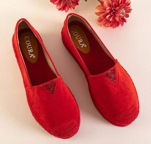 Czerwone espadryle Royalfashion.pl z tkaniny na platformie