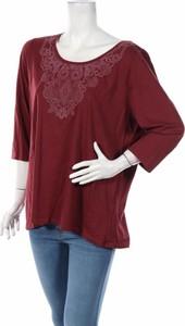 Czerwona bluzka Avella z długim rękawem z okrągłym dekoltem