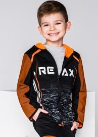 Ombre clothing bluza dziecięca rozpinana z kapturem kb020 - czarna/pomarańczowa