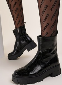 Czarne botki Renee na platformie w stylu casual na zamek