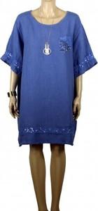 Sukienka atena-online z lnu w stylu casual z krótkim rękawem