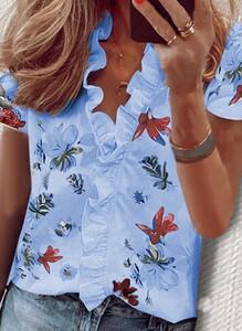 Niebieska bluzka Cikelly z krótkim rękawem