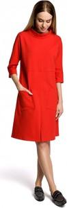 Czerwona sukienka MOE z długim rękawem