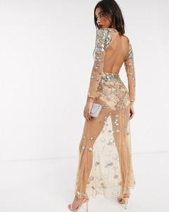Złota sukienka Asos z odkrytymi ramionami