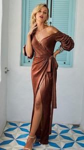 Brązowa sukienka noshame maxi kopertowa