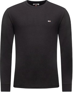 Czarna koszulka z długim rękawem Tommy Hilfiger z długim rękawem z bawełny