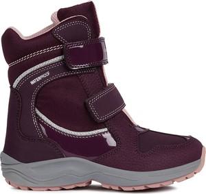Fioletowe buty dziecięce zimowe Geox na rzepy