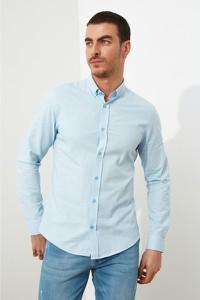 Niebieska koszula Trendyol z kołnierzykiem button down z długim rękawem