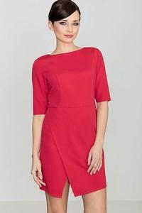 Czerwona sukienka LENITIF z tkaniny asymetryczna