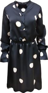 Granatowa sukienka Trynite z długim rękawem mini z tkaniny