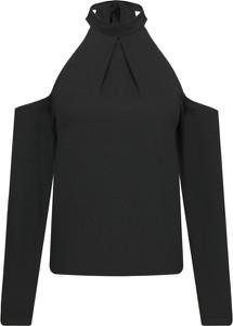 Czarna bluzka Silvian Heach z dekoltem typu choker z długim rękawem
