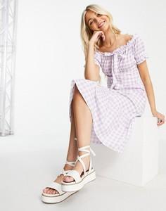 Fioletowa sukienka Influence z krótkim rękawem midi