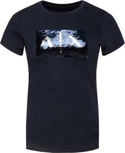 Granatowy t-shirt Armani Jeans w stylu casual z okrągłym dekoltem z krótkim rękawem