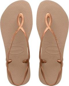 Brązowe sandały Havaianas z płaską podeszwą w stylu casual