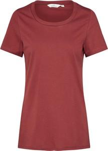 Czerwona bluzka Basic Apparel z okrągłym dekoltem w stylu casual z dżerseju