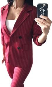 Różowa marynarka Yaze długa z bawełny w stylu casual