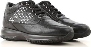 Czarne buty sportowe Hogan w stylu casual ze skóry z płaską podeszwą