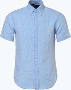 Niebieska koszula POLO RALPH LAUREN z kołnierzykiem button down w stylu casual z krótkim rękawem
