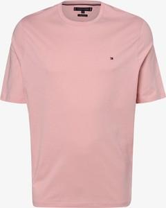 Różowy t-shirt Tommy Hilfiger z krótkim rękawem w stylu casual