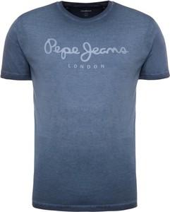 Granatowy t-shirt Pepe Jeans z krótkim rękawem