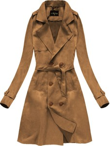 Brązowy płaszcz Libland z zamszu w stylu casual