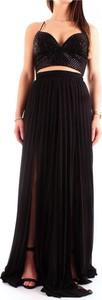 Czarna sukienka Fabiana Ferri z dekoltem w kształcie litery v maxi