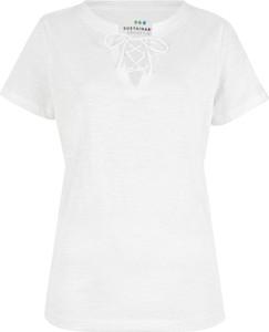 T-shirt bonprix bpc bonprix collection w stylu casual ze sznurowanym dekoltem z bawełny