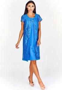 Niebieska sukienka Fokus z krótkim rękawem z okrągłym dekoltem midi