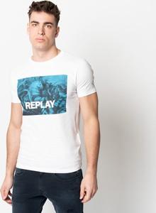 Bluzka Replay z krótkim rękawem z okrągłym dekoltem z bawełny