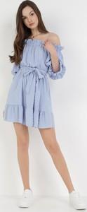 Niebieska sukienka born2be z okrągłym dekoltem mini