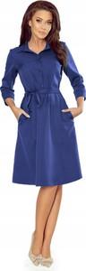 Niebieska sukienka NUMOCO z dekoltem w kształcie litery v z długim rękawem
