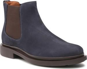 Granatowe buty zimowe Gino Rossi w stylu casual ze skóry