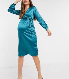 Mama Licious Mamalicious Maternity – Satynowa kopertowa sukienka w kolorze morskim-Zielony