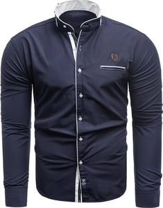 Granatowa koszula Risardi ze stójką z długim rękawem z bawełny