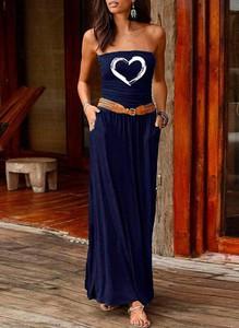 Sukienka Cikelly z okrągłym dekoltem w stylu boho