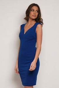 Niebieska sukienka Park Avenue z dekoltem w kształcie litery v dopasowana