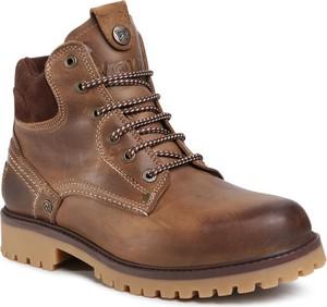 Brązowe buty zimowe Wrangler ze skóry