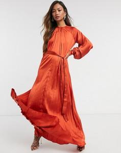Czerwona sukienka Asos trapezowa maxi z golfem