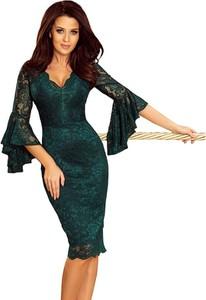 Sukienka NUMOCO z długim rękawem z dekoltem w kształcie litery v dopasowana
