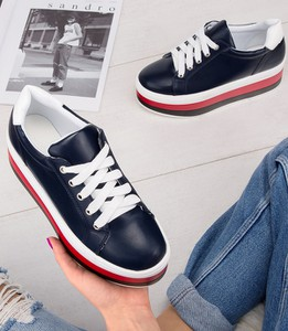 cce91b0421d9ca Granatowe buty sportowe Ideal Shoes ze skóry ekologicznej